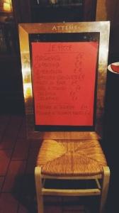 il menu delle pizze
